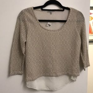 Tan and white sweater with white sheer underlay